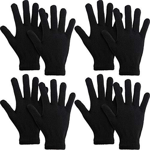 SATINIOR 4 Paar Strickhandschuhe Winter Magic Stretch Handschuhe Unisex Warm Full Fingers Handschuhe