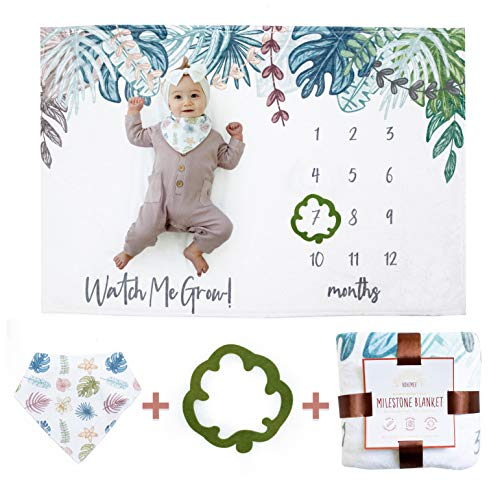 BOHEMEE Baby Milestone Blanket Boho Photo Blanket with Baby Bandana Bib and Baby Month Blanket Leaf Indicator Baby Monthly Milestone Blanket Boy and Newborn Baby Girl Stuff Unisex Age Growth Chart