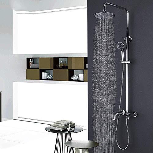 KANJJ-YU Cobre Cromo Conjunto de ducha ducha ducha superior del canalón Hermosa práctica Cromo
