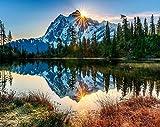 Pintar por números para adultos paisajes – montana y lago – pintura para pintar por números con pinceles y colores brillantes - cuadro de lienzo con numeros pre dibujado fácil de pintar – paisaje