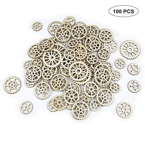 Deailles Shine 100 Stücke Zahnräder Holz Verzierung,Holzscheiben Naturholzscheiben Streudeko Tischdeko für DIY Basteln Handwerk Weihnachten Hochzeit Geburtztag