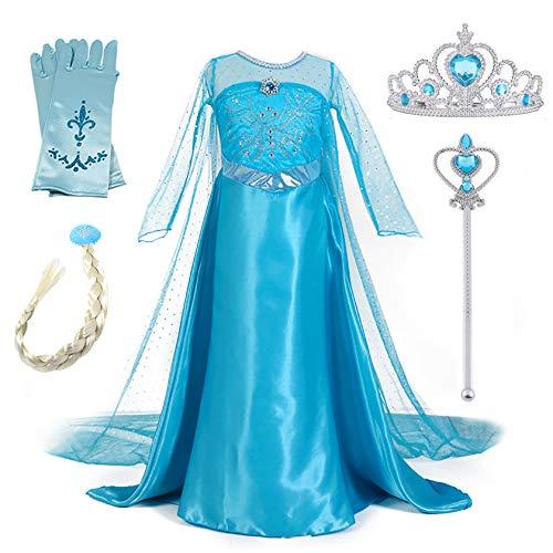 New front Niñas Vestido de Princesa Elsa Elegante Disfraz