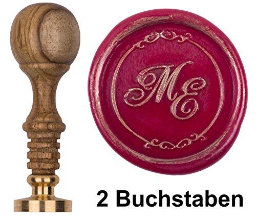 Siegel-Stempel Initialen 2 Buchstaben + Zierrand Petschaft Teakholz natur