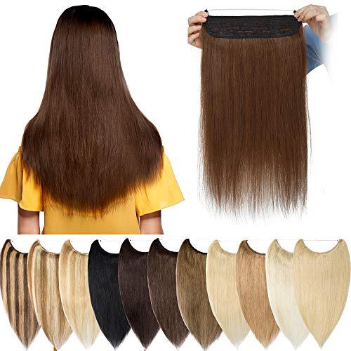 Extension à Double Fil Invisible Cheveux Naturel - Rajout 100% Cheveux Humain Remy Hair - Une Pièce Maxi Epaisseur (#04 Châtain, 22 Pouces-120g)