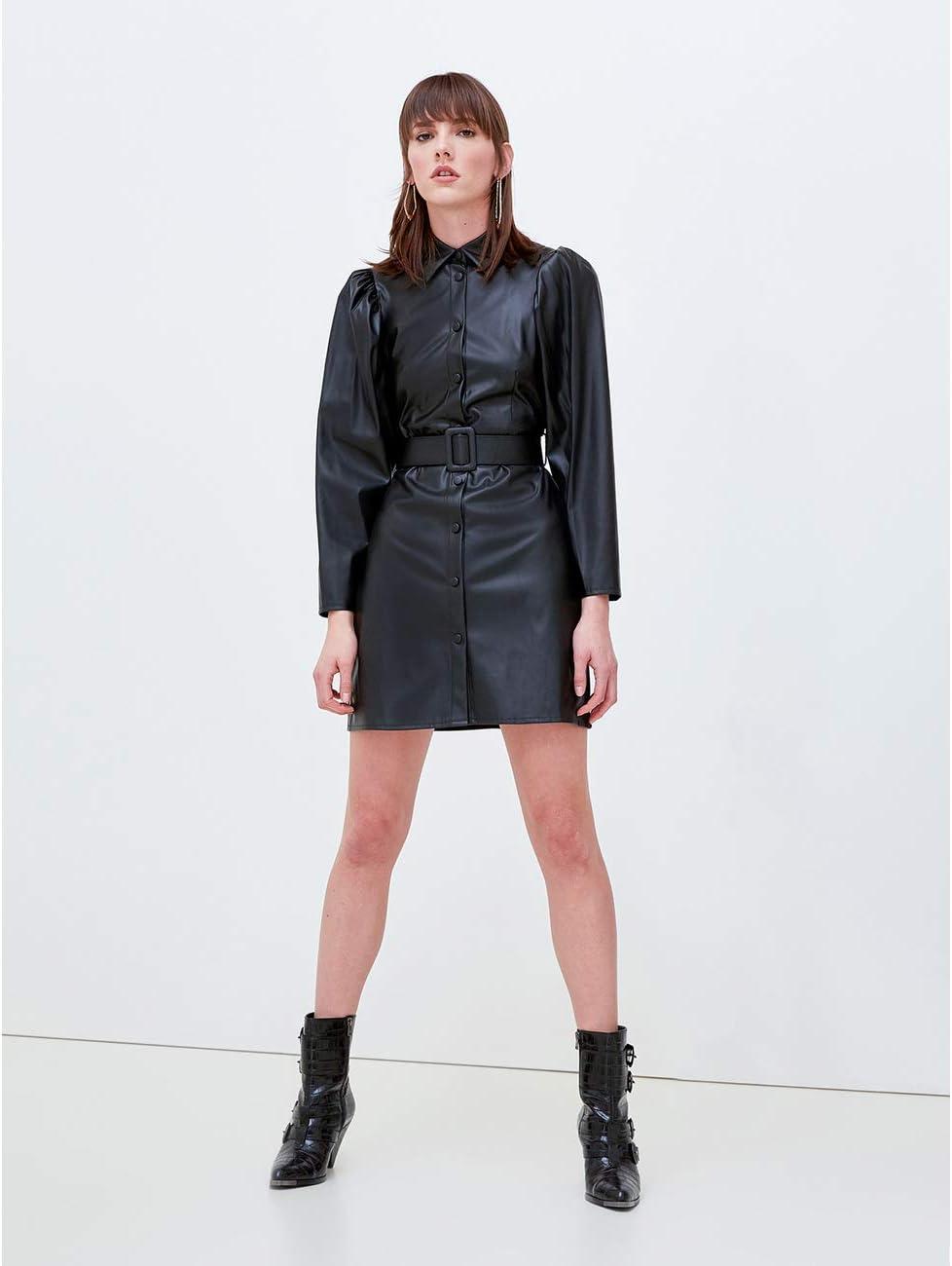Motivi : Vestido Camisero Efecto Piel Negro 44 (Italian Size ...