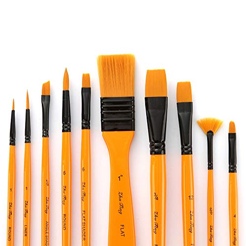 Aibecy 10pcs Paint Brushes Set Kit Artist Paintbrush Multiple Mediums Brushes with Carry Bag Nylon Hair for Artist Acrylic Aquarelle Watercolor Gouache Oil Painting for Great Art Drawing Supplies