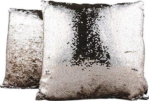 Sofakussen deco-kussen glitter pailletten 40x40cm Karo trendy champagne & grijs