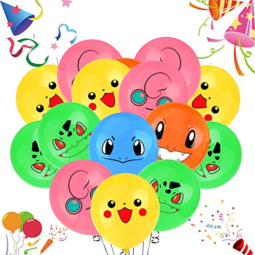 JAHEMU Pokemon Globos Pikachu Fiesta Globos látex Helio Globos 12 pulgada para niño Pokemon Cumpleaños Fiesta Suministros 50pcs