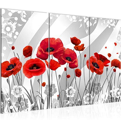 Runa Art Coquelicots Peinture Tableau Salon XXL Noir Et Blanc Champ 120 x 80 cm 3 Parties Decoracion Murale 208831a