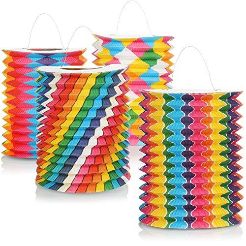 com-four 4X Linterna con Motivos de Colores - Linterna de Papel para San Martn y Halloween - Linterna de San Martn para nios [la seleccin vara]