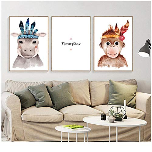 zhaoyangeng pop-art print hippo-cartoon-poster Noordse dieren posters en afdrukken canvas schilderij AFFE wooncultuur - 40X60Cmx3 niet ingelijst