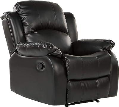 Divano Roma Furniture REC01-BLACK Furniture Bonded Leather Recliner Chair - Overstuffed, Black