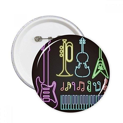 DIYthinker Gitarren-Musikinstrumente Neon Runde Stifte Abzeichen-Knopf Kleidung Dekoration 5pcs Geschenk Mehrfarbig S