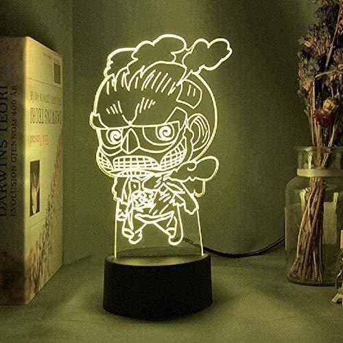 tian tian baby 3D Lampe Anime Attack On Titan LED Nachtlicht mit Fernbedienung 16 Farben Tischlampe Schlafzimmer Kinder dekorativ