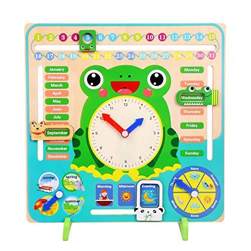 Ecoticfate Juguetes preescolares edad 2 3 4 para niños rana de madera de madera multifunción educación temprana rompecabezas calendario reloj despertador, bebé cognitivo, juguete de jardín de infantes