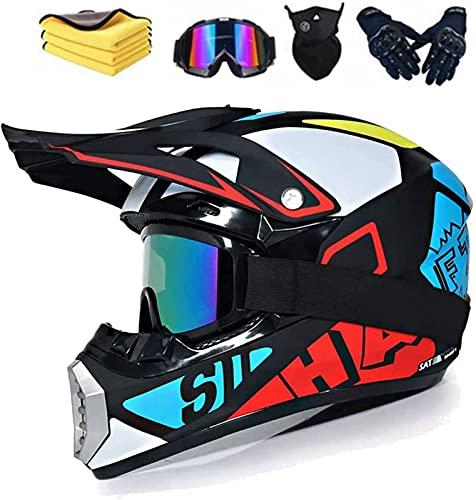 Casco da motocross per bambini,Casco integrale MTB,casco integrale rimovibile, con occhialini e guanti/maschera,per downhill Bike,discesa. (XL (60-61 cm))