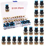 RUNCCI-YUN 20PCS 10K Potenziometro rotativo a 3 terminali per potenziometro lineare da 10 K con cappucci e rondella