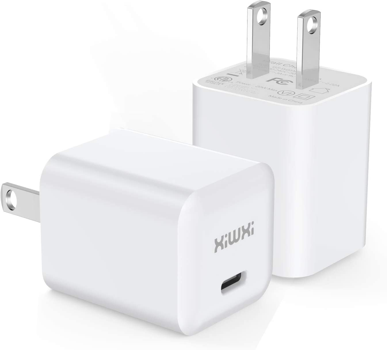 xiwxi USB C Power Adapter, 20W Fast PD Phone Charger Wall Charger Compatible with iPhone 12/12 Mini / 12 Pro / 12 Pro Max / 11, Galaxy, Pixel, iPad Pro (2-Pack)