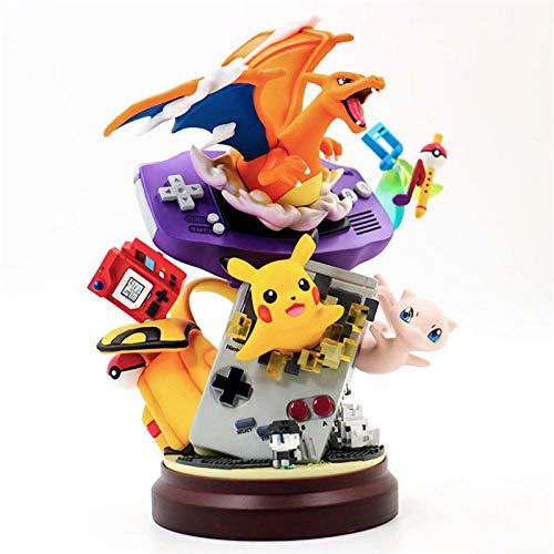 Juguetes de Anime Estatua de Resina Gameboy Pika Mew Charizard Figura de acción Juguetes de ensueño Pokemoned Figura Modelo Adornos Regalo Estatua muñeca Anime