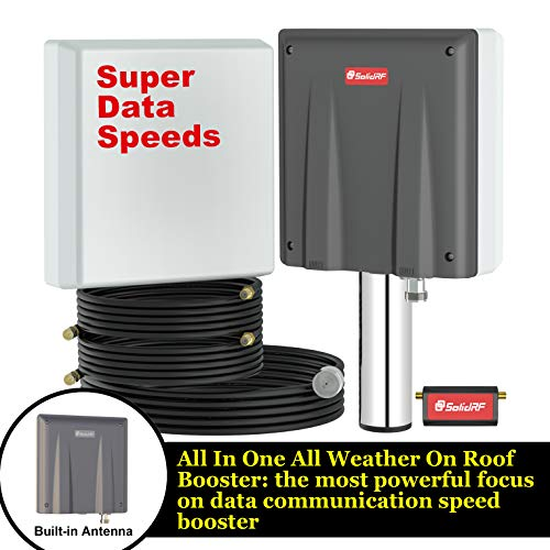 SolidRF-High Data Speed Cell Phone Signal Booster-for Home, Convenience Store, Apartment, Workshop - All U.S. Carriers - All in One On Roof Cell Booster Speed Kit Supports 4,000 sq ft