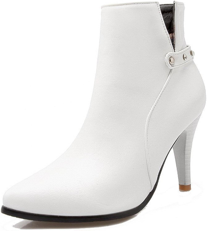 AmoonyFashion Women's Pu Low Top Solid Zipper High Heels Boots with Glass Diamond
