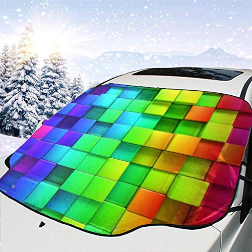 Kejbr Cubos 3D De Colores Front Car Sonnenschutz Frontscheibe Foldable Anti-Ice Car Front Window Sonnenschutz for Most Sedans SUV Truck - Auto Sun Shade Visor Shield Cover, Keeps Vehicle Cool