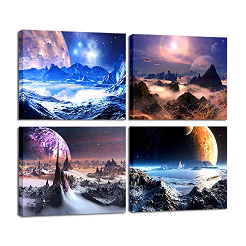 Pyradecor Purple Canvas Prints Wall Art Fantastic Outer Space Universal Pictures Paintings for Bedroom Office Home Decorations Modern Abstract 4 Pieces Stretched and Framed HD Giclee Artwork