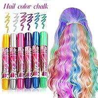 Tiza de Pelo, Cabello Tiza, Coloración temporal Cabello, Hair Chalk Set, 6 Colores Temporal Tiza de Pelo dont have Tóxico Lavables Color de Tiza Para Niños DIY Fiesta y Cosplay