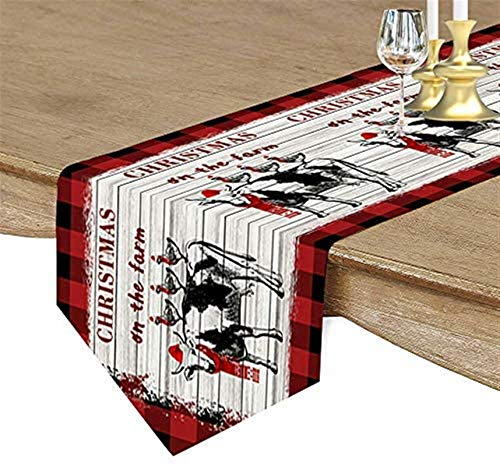 Chemin de Table en toile de jute Arbre de Noël Plaids à carreaux rouges Salle à manger en bois de grange rétro,Chemins de table de couverture de table de décor Kichen pour le salon,13x120 pouces