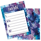 Pretty Blue Purple Watercolor Invites (20 Count with Envelopes) - Kids Adults Teens Birthday, Baby Shower, Teen Girl Bday Invites