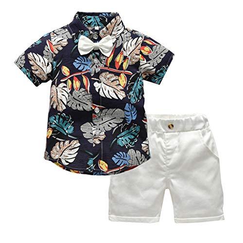 Julhold Kleinkind Baby Junge Mode Niedliche Kurzarmfliege Gentleman Leaf Baumwoll T-Shirt Tops + Shorts Outfits 1-5 Jahre