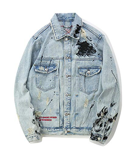 Hzikk Mens Graffiti Jeansjacken Punk Rock Ripped Distressed Street Jeans-Jacke,Blau,M