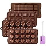 Oziral Molde de Chocolate, Moldes Bombones Molde Tableta chocolate para Niños, Mujeres y Principiantes. Molde de chocolate en forma de rosa en forma de corazón Moldes de chocolate de silicona