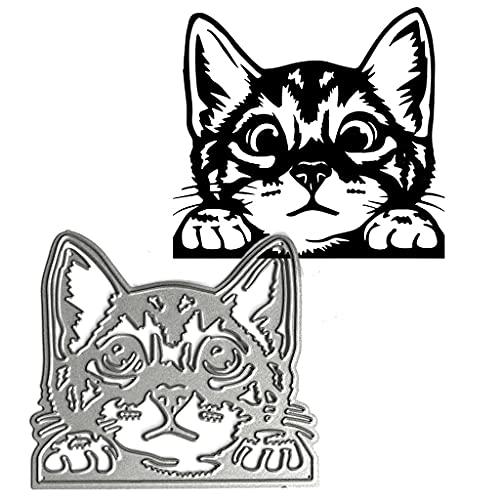 WuLi77 Realistisch Katzenkopfform Stanzschablone Die Stanzen Cutting Dies, Metall Stanzbögen Prägeschablone Für Scrapbooking, DIY Album, Karten, Card Making