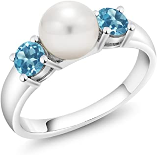1.00 Ct Round Swiss Blue Topaz 925 Sterling Silver Freshwater Pearl Ring