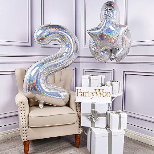 PartyWoo Zahlen Luftballon, Folienballon 2, 40 Zoll Riesen Luftballons, XXL Luftballon, Luftballons Geburtstag, Ballons Geburtstag, Geburtstagsdeko, Geburtstag Deko für Geburtstag (Silber, 5 Stück)