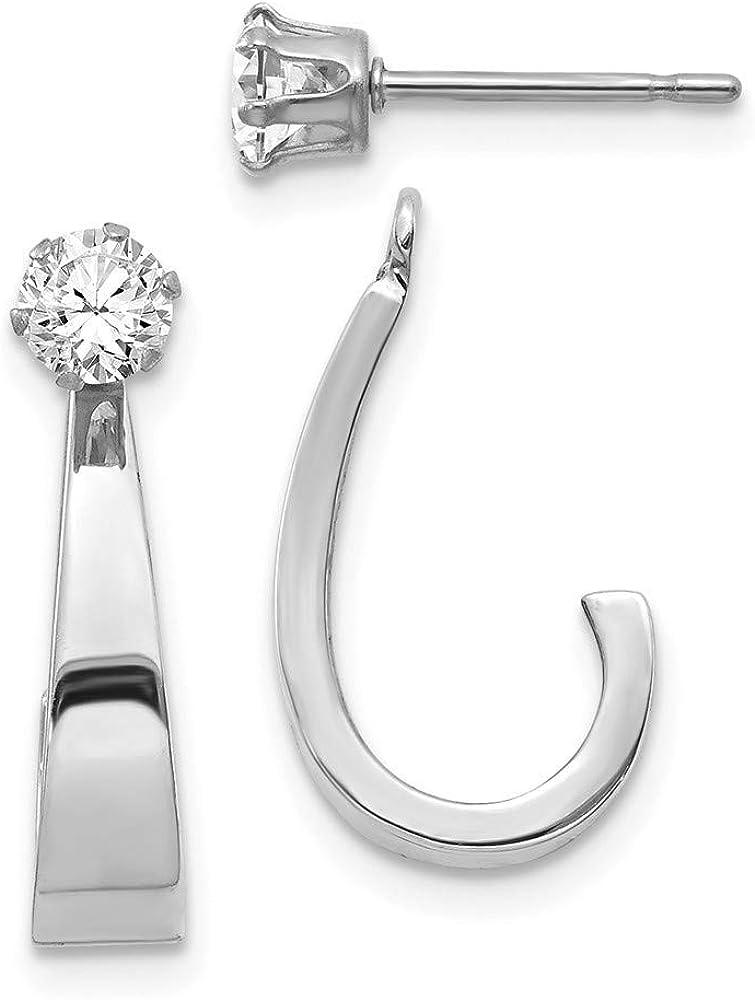 Roy Rose Jewelry 14K White Gold J Hoop w/CZ Earring Jacket