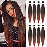 Seriya Pre Stretched Braiding Hair Yaki Braid Ombre Color Professional Braiding Hair Extensions for Crochet Braids Twist Hair 8 Packs 26 Inch (T1B-350)