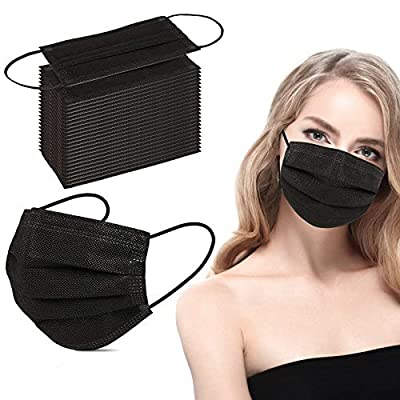 Hestiasko Black Disposable Face Masks 50 Pcs, Non-Woven Breathable Dust Mask with Stretchable Earloops for Adult, Men, Women, Outdoors from Hestiasko