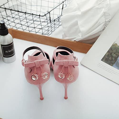 Xue Qiqi chaussures à haut talon sandales Baotou Noeud Papillon,39, rose nu [7 cm]