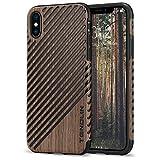 TENDLIN Funda iPhone XS/Funda iPhone X Grano de Madera con Piel y Silicona TPU Híbrido Suave Funda Compatible con iPhone XS y iPhone X (Rosa Negro & Cuero)