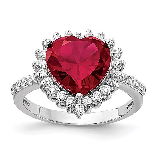 925 Sterling Silver 100 Facet Created Red Ruby Cubic Zirconia Cz Heart Band Ring Size 6.00 S/love Gemstone Fine Mothers Day Jewelry For Women Gifts For Her