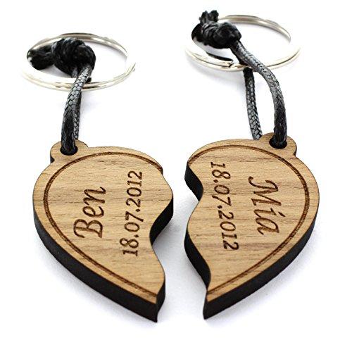 Lieblingsmensch 2er Set Gravur Partner Schlüsselanhänger aus Holz - Modell: geteiltes Herz