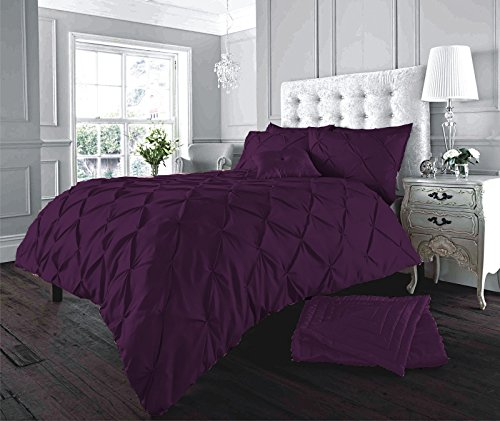 Pintuck Duvet Cover and Pillowcases Set Poly Cotton Bedding (Alford Aubergine, King)