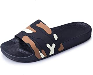 Leisure Fashion Slippers for Mens Comfort PU Leather Non-Slip Flat Sandals Round Open Toe Camouflage Quick-Drying Casual Slides Soft Sole Sandal Slipper v102 (Color : Brown, Size : 6 UK)