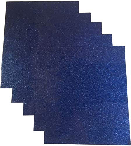 Qbc Craft 12x10 Dark Blue Glitter Permanent Adhesive Vinyl Sheets (5 Pack) for Cricut Maker Expression Explore Silhouette Cameo Make Adhesive Backed Vinyl Decals Signs Letters Monograms Scrapbooking