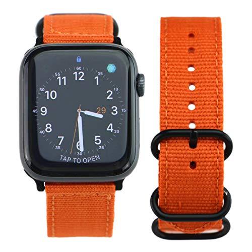 Correa de reloj de nylon para Apple Watch 44mm 42mm cosquillas Sports Sports Band Band Retro pulsera Cinturón, compatible con iWatch Series 6 SE 5 4 3 2 1, para hombres mujeres, naranja correa de relo