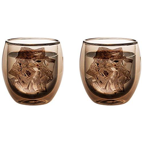 Levivo doppelwandiges Jumbo Thermoglas 400 ml, ideal als Kaffeeglas oder Teeglas, mundgeblasene Thermo-Gläser, hitzebeständig, handgefertigt, kratzfest und spülmaschinengeeignet, 2er-Set, grau