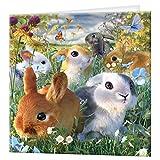 tarjeta de felicitación de 3D LiveLife - conejitos, tarjeta lenticular 3D del conejo colorido de Deluxebase, para cualquier ocasión y edad. ¡Ilustraciones originales autorizadas del artista renombrado