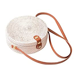 MCUILEE Sacs à main portés épaule femme, Été sac de plage manuel rotin tissé à la main ronde Sac (Blanc)